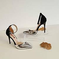Туфли черные с серебром
