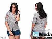 Рубашка женская в полоску с вышивкой красная