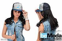 Женская модная кепка голубая