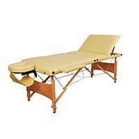 Массажный стол 3-х секционный (дерев. рама) бежевый Relax HY-30110B