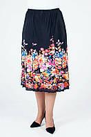 Летняя женская юбка годе с цветочным узором из ткани масло, черная