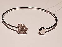 Срібний жорсткий браслет з фіанітами. Артикул 905-01012
