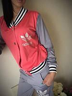 Женский спортивный костюм Adidas, бомпер+штаны, в двух цветах. Ткань: дайвинг. Размеры: S,M,L.