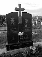 """Памятник из черного гранита """" С крестом"""""""