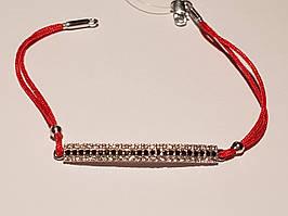 Браслет з текстилю з срібними вставками і фіанітами. Артикул 905-00580 16,5