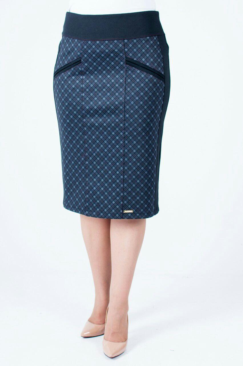 Трикотажная женская юбка Берта, бордовый ромб