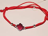 Браслет Клевер из текстиля с серебряными вставками с эмалью. Артикул 905-00894, фото 1