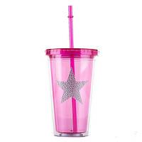 """Стакан с закручивающейся крышкой и трубочкой """"Pink star"""", 0.45л"""