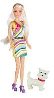 Прогулка с собачкой, набор с куклой 28 см, блондинка в ярком платье, Ася (35057)