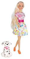 Прогулка с собачкой, набор с куклой 28 см, блондинка розово-белом платье, Ася (35058)