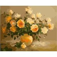 Нежно-желтые розы, серия Букет, рисование по номерам, 40 х 50 см, Идейка (KH278)