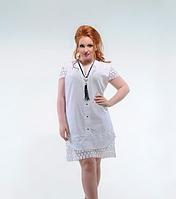 Легкое летнее котоновое женское платье -рубашка большого размера с кружевными вставками  + цвета