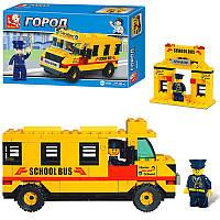 Конструктор SLUBAN 303213 R/M 38B100 школьный автобус,105 дет,фигурка, в кор-ке,20,5-13-5см (BOC002379)