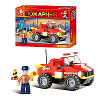 Конструктор SLUBAN M38 B 0217 R пожарная техника, 118 дет, в кор-ке, 26-19-4,5см (BUK001528)