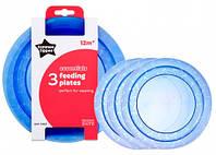 Тарелочки мелкие, набор из 3 штук, синие, Tommee Tippee (43031640-1)