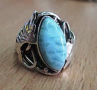 "Серебряное колечко с ларимаром ""Ажур"", размер 17,6 от студии LadyStyle.Biz"