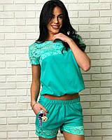 Модный женский костюм футболка с гипюром + шорты / Украина / штапель