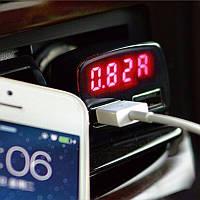 4 в 1- Зарядное устройство (2 USB )+Вольтметр +термометр+амперметр 12 -24В