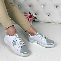 Женские кеды - криперы STAR, эко кожа, белые  / кеды для девочек СТАР, модные