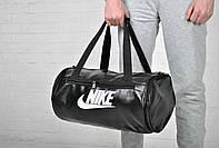 Сумка Nike бочка кож зам черная бел лого