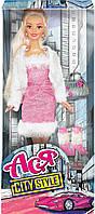 Городской стиль, набор с куклой 28 см, блондинка в розовом платье и белой кофте, Ася