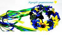 Обруч - венок Подсолнухи и Васельки с лентами