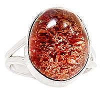 """Срібне кільце з лодолитом """"Червоне море"""" , розмір 19.7 від студії LadyStyle.Biz, фото 1"""