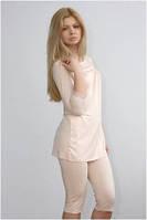 Пижама женская кремовая, бриджи и блузка, домашний комплект, одежда для дома, Shato, Шато