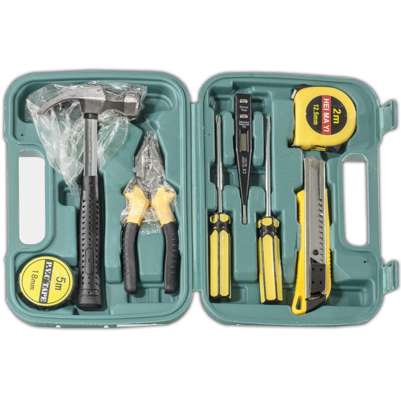 Набор инструментов Lesko 8009 отвертка крестовая/шлицевая молоток прозвонка плоскогубцы рулетка изолента канц.