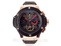Механические часы HUBLOT - Geneve  с автозаводом, каучуковый черный ремешок, золотистый корпус, фото 1