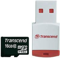 Карта памяти Transcend microSDHC 16 GB Class 10 + кардридер
