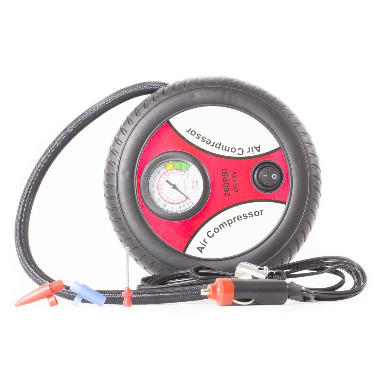 Автокомпрессор Lesko 260 PSI для машины автомобиля шины качать насос двигатель колесо