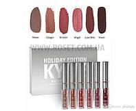 Набор жидких матовых помад - Kylie Holiday Edition 6 pcs