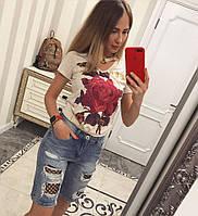 Шорты джинсовые женские, прямые,до колена,рваные,с сеткой 0003юб