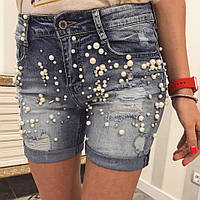 Шорты джинсовые женские жемчуг 0007юб