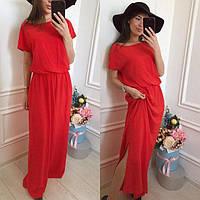 Женское модное длинное платье  Цвет  -  красный,  синий,  ментол ДГс446