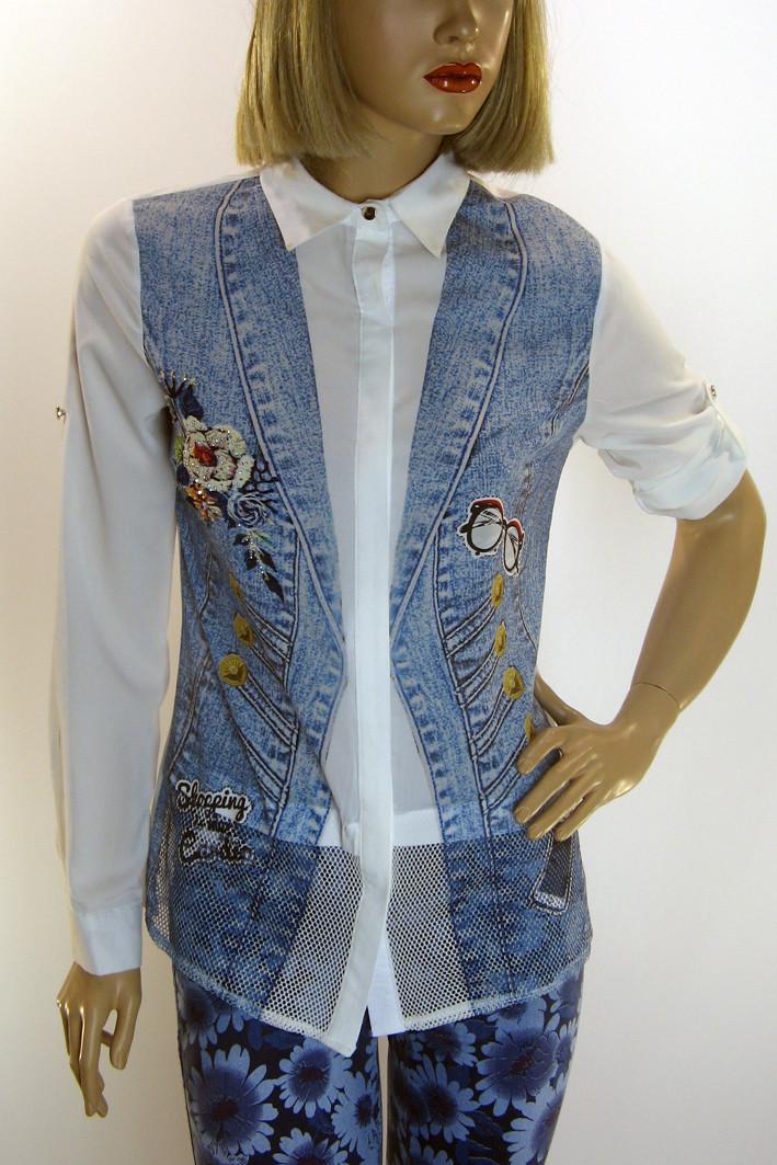 Жіноча блузка з принтом і вишивкою Movda