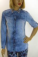 Жіноча джинсова сорочка з вишивкою Saloon