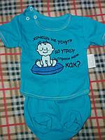 Детский костюм под памперс: футболочка и трусики от рождения до 8 месяцев. Цвет голубой