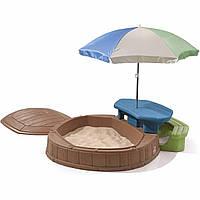 Детская песочница cо столиком и зонтиком - Step 2 - США- в наборе есть 2 формочки и 2 совочка
