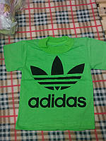 Детская спортивная футболка Адидас материал кулир, от 1 года до 7 лет. Цвет зеленый