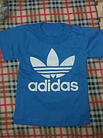 Детская спортивная футболка Адидас материал кулир, от 1 года до 7 лет. Цвет синий