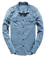 Мужская Джинсовая стильная рубашка с длинным рукавом