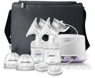 Avent Двойной электронный молокоотсос Comfort Natural, В комплекте 2 бутылочки 125 мл