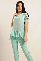 Летняя коттоновая блуза свободного силуэта 42-52 размеры