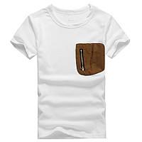 Мужская футболка белая с замшевым карманом