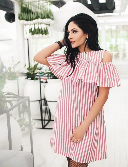 91cee99d40e8 Женское модное платье волан на плечах на резинке РК174 - Интернет-магазин  «Модная»