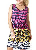 Шифоновое яркое летнее платье (858 br)