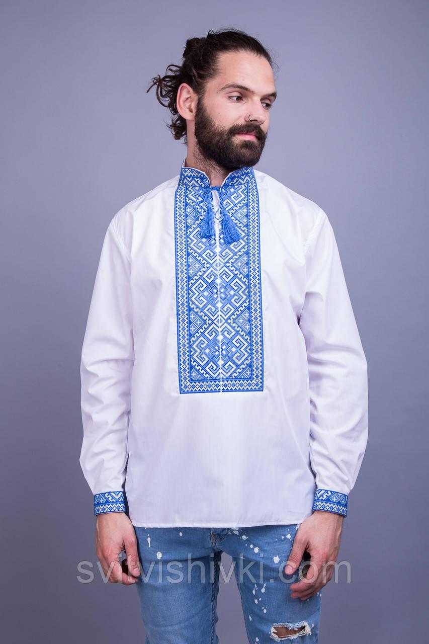 Вишита чоловіча сорочка з синім орнаментом