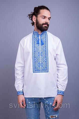 Вишита чоловіча сорочка з синім орнаментом, фото 2